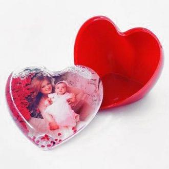 Шкатулка водяная с вашим фото в виде сердечек