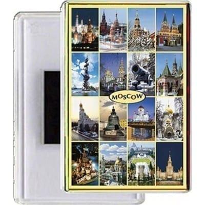Золотистый акриловый магниты с видами Москвы