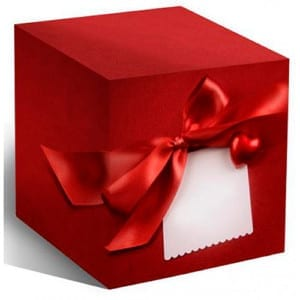 Коробка под кружку, красный бант